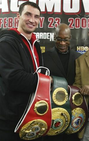 Klitschko proudly shows off his belts