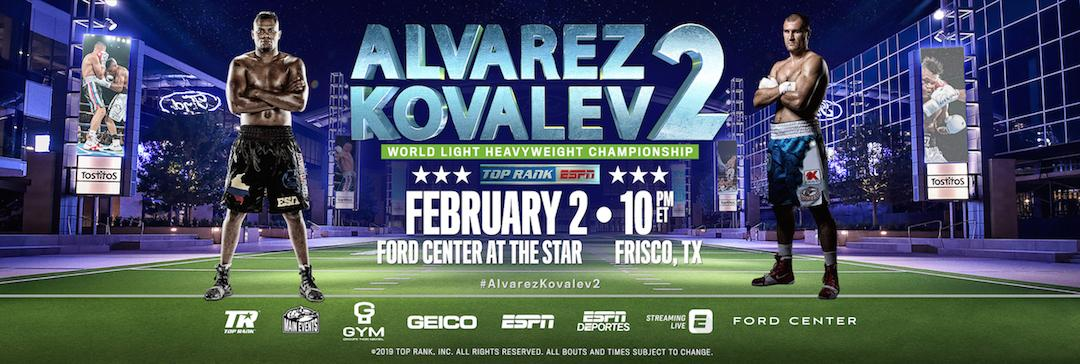 Alvarez and Kovalev rematch set for Feb.2 in Texas