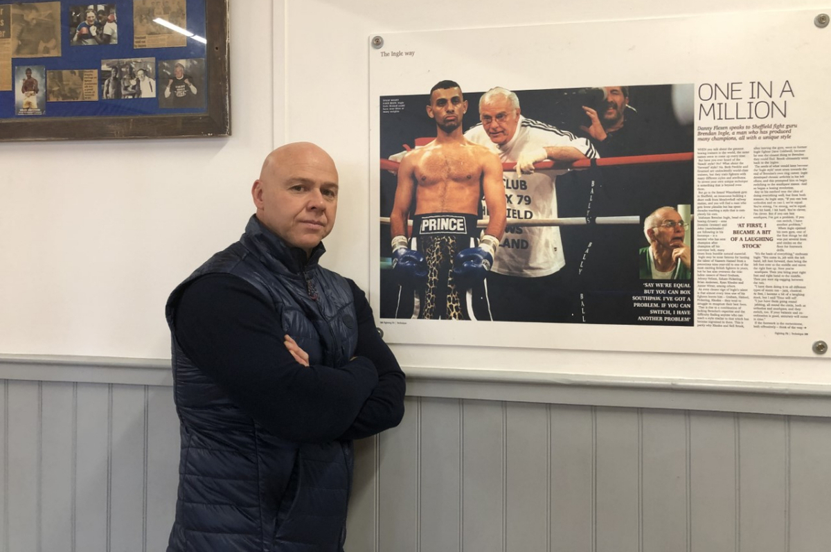 Dominic Ingle with a story on Brendan Ingle (by your author) that hangs in their gym