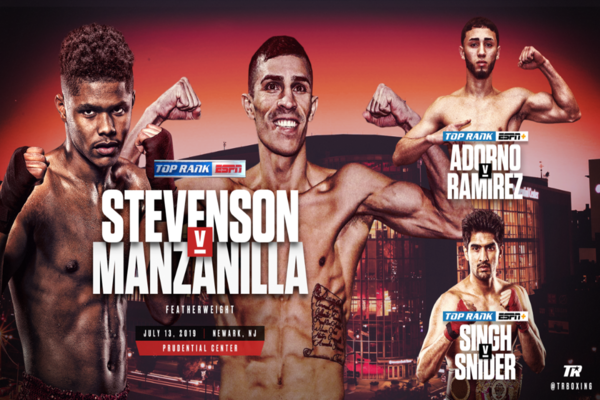 Shakur Stevenson fights Franklin Manzanilla in Newark July 13