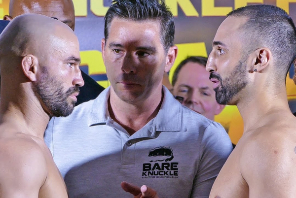 Paulie Malignaggi vs Artem Lobov weigh in then stare each other down (video)