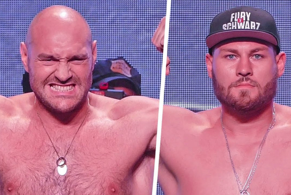 Tyson Fury vs Tom Schwarz full weigh-in and fiery faceoff VIDEO