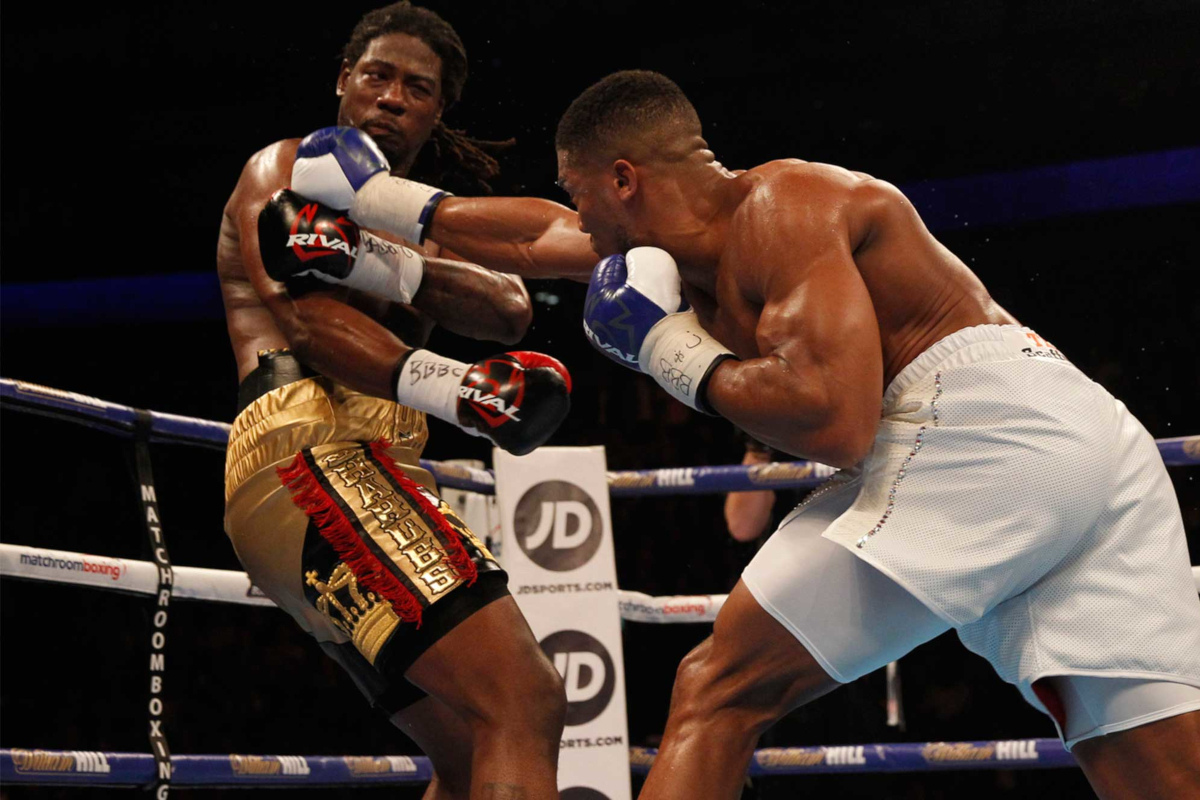Charles Martin (left) loses to Anthony Joshua