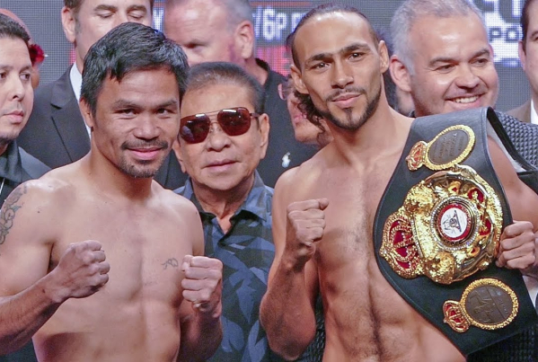 Manny Pacquiao & Keith Thurman Las Vegas weigh in (video)
