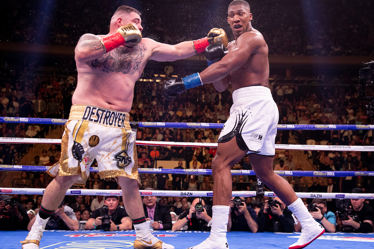 Anthony Joshua is tagged by Andy Ruiz Jr (Mark Robinson/Matchroom)