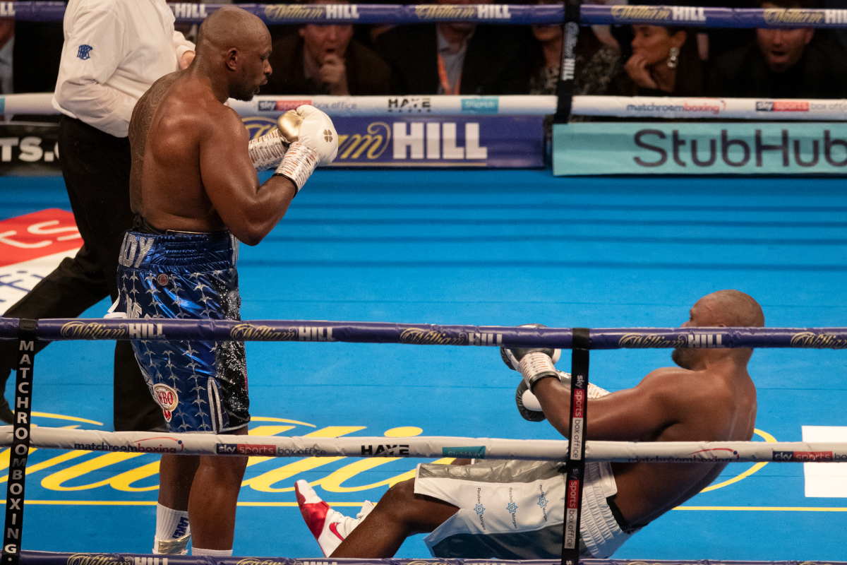 Chisora (right) falls to Whyte for the second time (Mark Robinson/Matchroom)