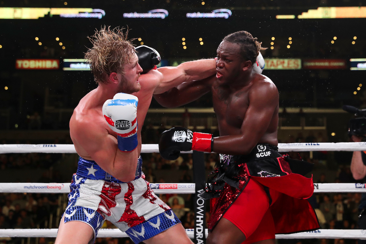 Logan Paul (left) cannot finish KSI (all images: Ed Mulholland/Matchroom Boxing)