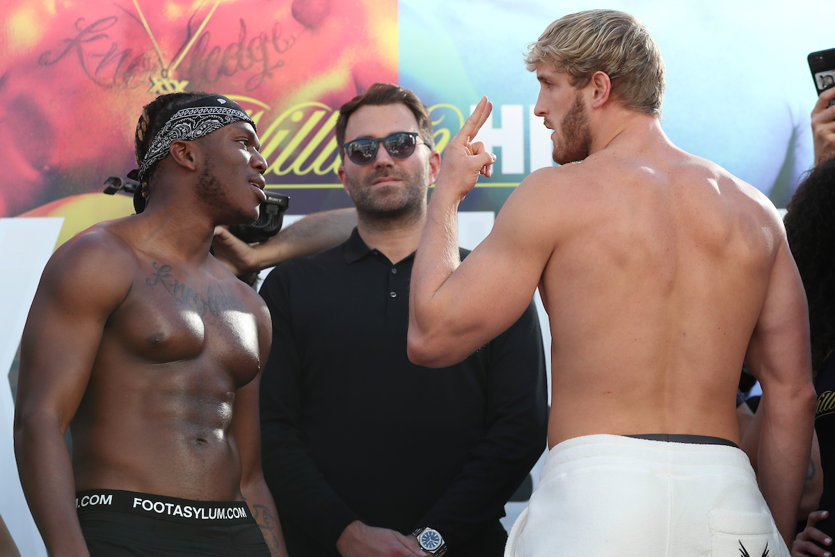 KSI (left) and Logan Paul at the weigh-in (Ed Mulholland/Matchroom Boxing)