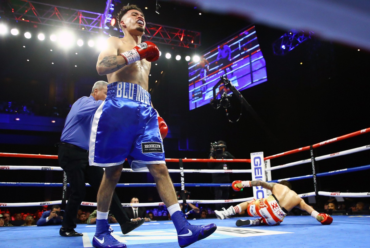 Oscar Valdez is dropped but will win (Mikey Williams/Top Rank)