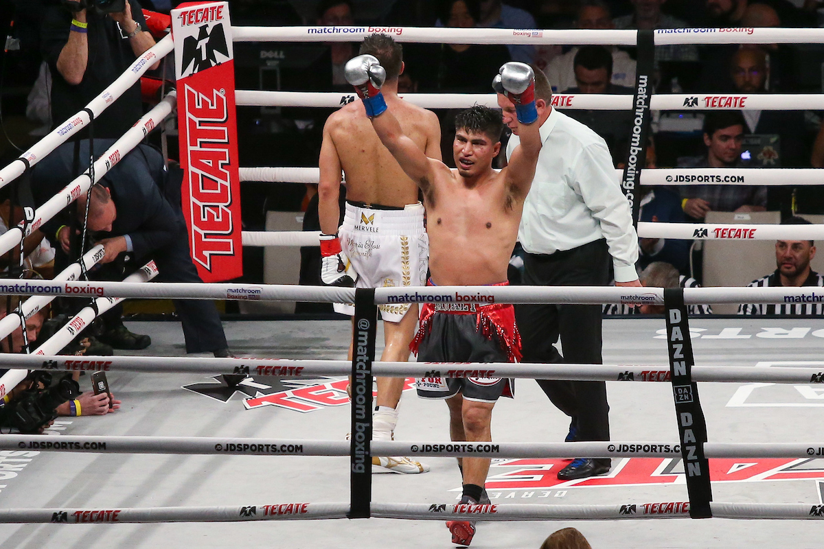 Mikey Garcia gets his first welterweight win (Melina Pizano/Matchroom Boxing USA)