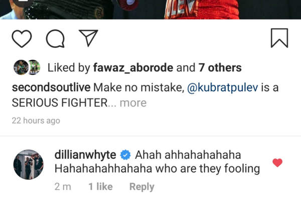 Dillian Whyte laughs at Anthony Joshua vs Kubrat Pulev
