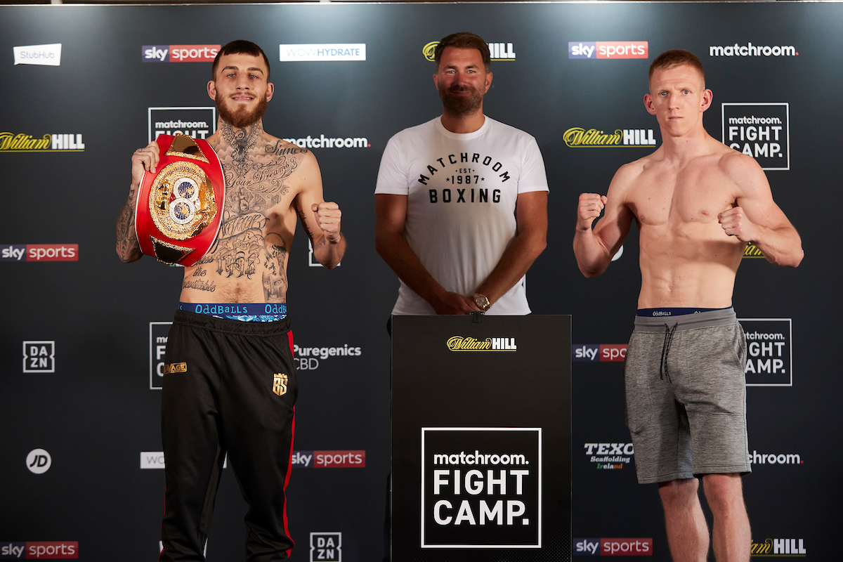 Sam Eggington vs Ted Cheeseman, with Eddie Hearn between them