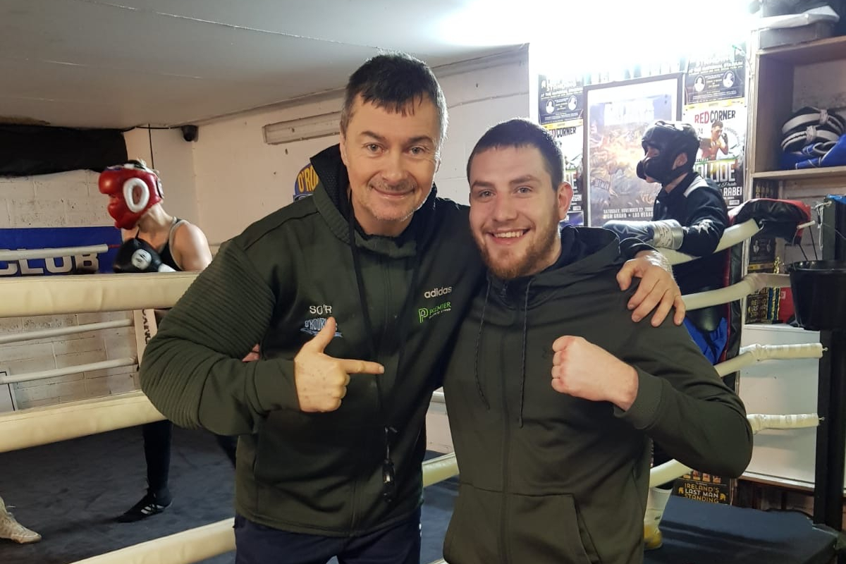 Keane McMahon (right) with new trainer O'Rourke