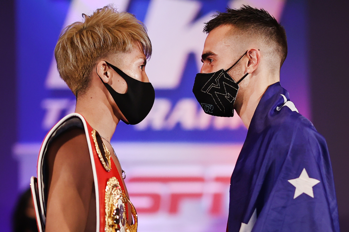 Naoya Inoue vs Jason Moloney weigh-in (Mikey Williams/Top Rank)
