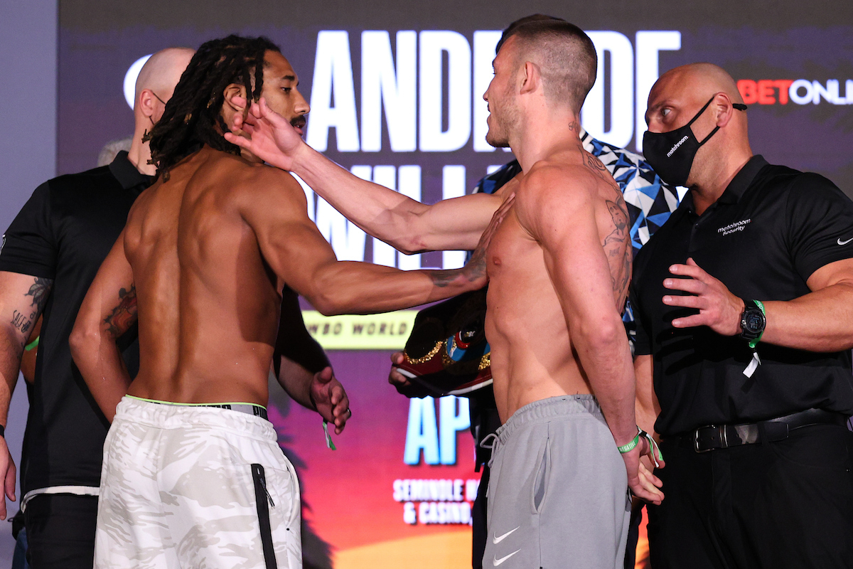 Demetrius Andrade vs Liam Williams weigh-in (Ed Mulholland/Matchroom Boxing USA)