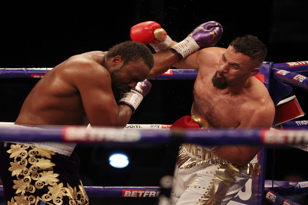 On the floor in the opening round, Joseph Parker rallies to defeat Derek Chisora