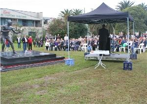 Maitland Mayor Peter Blackmore addresses the crowd